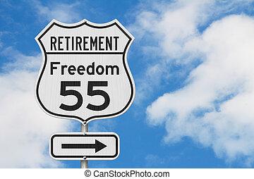 retraite, usa, 55, liberté, parcours, signe, plan, route, autoroute