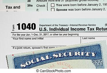 retraite, usa, impôt, calculs, carte sécurité sociale