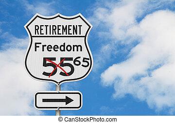 retraite, usa, liberté, parcours, signe, 65, plan, route, autoroute