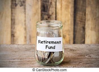 retraite, verre, argent, pièces, pot, étiquette, fonds