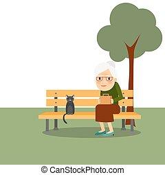 retraite, vieille femme, parc