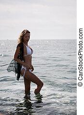 retrato, água, tropicais, loiro, descansar, mar, recurso, praia, bonito, adelgaçar, excitado