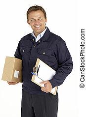 retrato, área de transferência, pacote, mensageiro, segurando