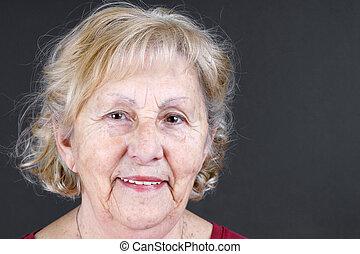 retrato, 3º edad, sincero, mujer