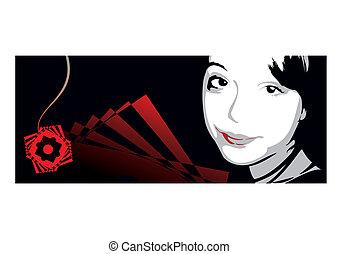 retrato, abstratos, menina, fundo