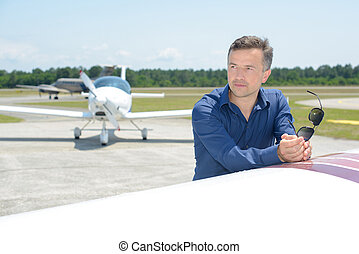 retrato, aeródromo, hombre