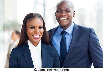 retrato, africano, equipo negocio
