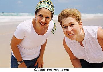 retrato, ambulante, viejo, playa, dos mujeres, hermoso, 45, años
