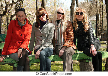 retrato, amigos, grupo, mujeres