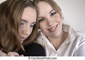 retrato, amor, dos mujeres