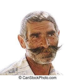 retrato, anciano, moustaches, hombre