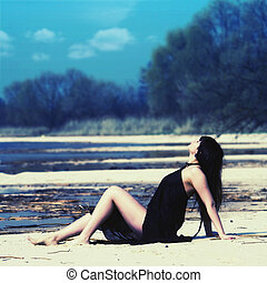 retrato, ao ar livre, rio, femininas, costa