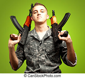 retrato, arma de fuego, tenencia, soldado