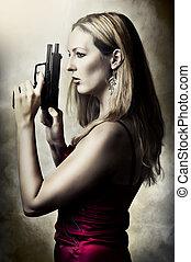 retrato, arma, mulher, moda, excitado