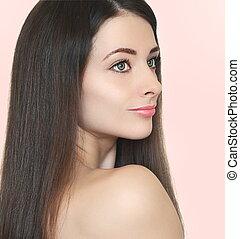 retrato arte, de, mulher bonita, olhar, com, longo, hair., closeup, retrato