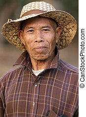 retrato, asiático, granjero