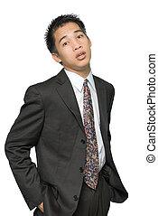 retrato, asiático, jovem, homem negócios