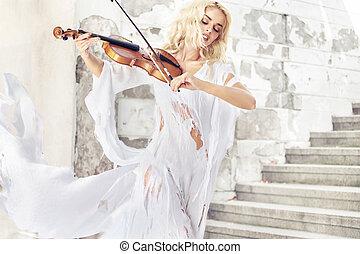 retrato, asombroso, músico, hembra
