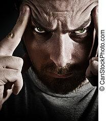 retrato, assustador, close-up, homem, cansado