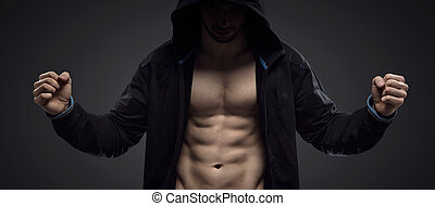 retrato, atleta, hooded, muscular