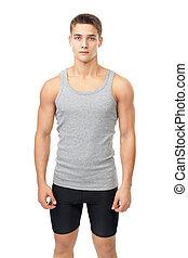 retrato, atleta, muscular, homem