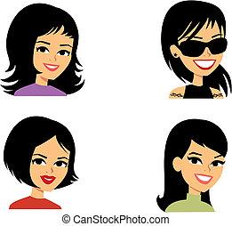 retrato, avatar, caricatura, ilustração, mulheres