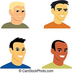 retrato, avatar, caricatura, ilustração