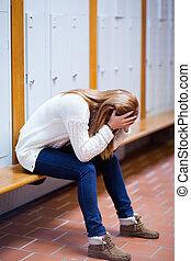retrato, banco, estudiante, deprimido, sentado