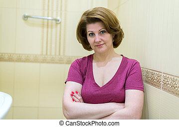 retrato, banheiro, mulher, dela