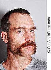 retrato, bigote, hombre