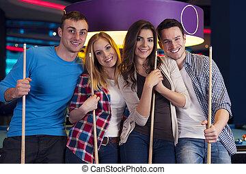 retrato,  billiard, grupo, amigos