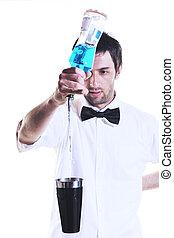 retrato, blanco, barman, aislado, plano de fondo