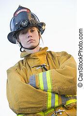 retrato, bombero, hembra