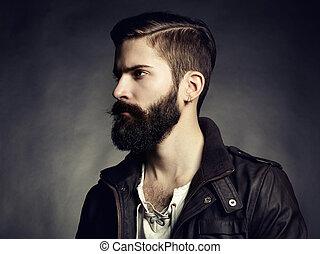 retrato, bonito, barba, homem