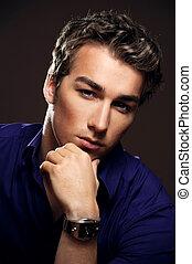 retrato, bonito, closeup, homem jovem