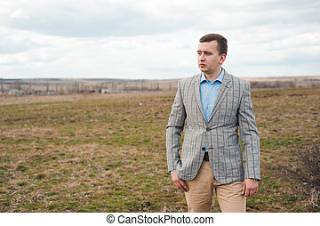 retrato, bonito, field., homem jovem