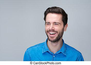 retrato, bonito, homem, jovem, rir