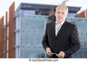 retrato, bonito, homem negócios