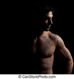 retrato, bonito, homem, topless, excitado