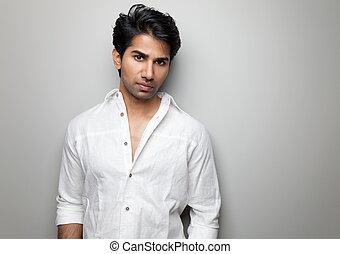 retrato, bonito, indianas, homem