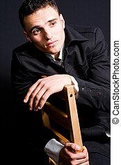 retrato, bonito, moda, homem jovem