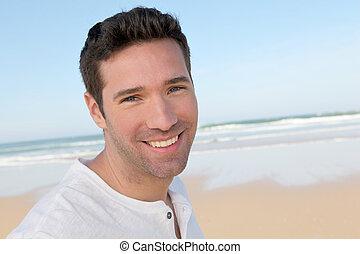 retrato, bonito, praia, homem