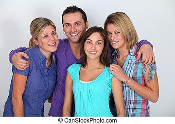 retrato, branca, amigos, grupos, fundo