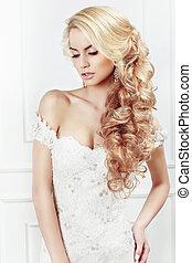 retrato, bride., hairstyle., casório