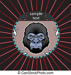 retrato, círculo, orangután
