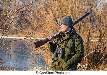 retrato, caçador