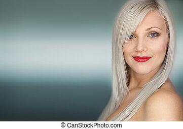 retrato, cabelo longo, excitado, loiro, mulher sorri