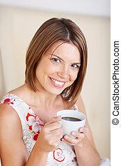 retrato, café, mulher