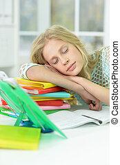 retrato, cansadas, estudar, após, dormir, escrivaninha, schoolgirl, lar