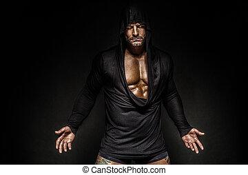 retrato, capucha, hombre
